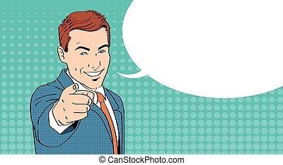 hombre de negocios, punto, dedo, en, usted, charla, burbuja,...