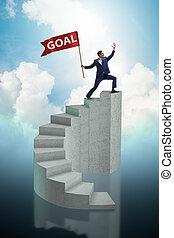 hombre de negocios, realizando, el suyo, empresa / negocio, meta, objetivo