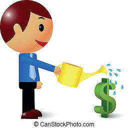 hombre de negocios, regar, árbol, dinero
