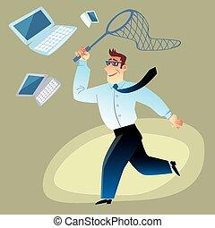 hombre de negocios, retenéis, computadoras, mariposas, red