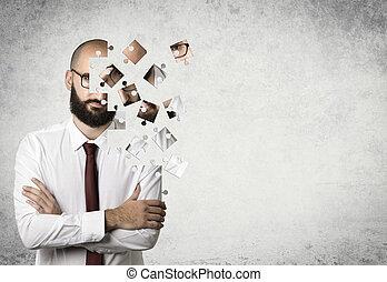 hombre de negocios, rompecabezas