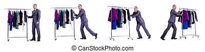 hombre de negocios, ropa, estante
