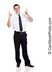 hombre de negocios, señalar con el dedo arriba