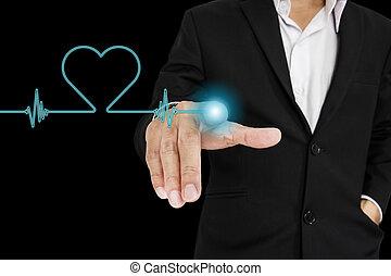 hombre de negocios, señalar con el dedo hacerlo/serlo, pantalla
