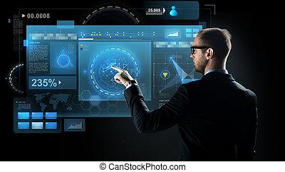 hombre de negocios, señalar el dedo, a, virtual, pantalla
