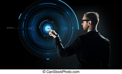 hombre de negocios, señalar el dedo, a, virtual, proyección