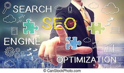 hombre de negocios, señalar, seo, (search, motor,...