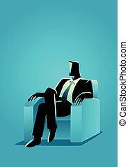 hombre de negocios, se sentar sobre sofá