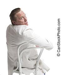 hombre de negocios, se sentar sobre una silla