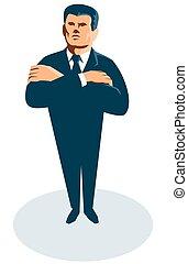 hombre de negocios, secreto, brazos cruzados, agente