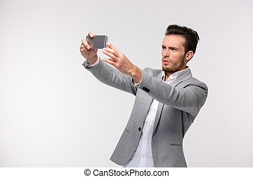 hombre de negocios, selfie, elaboración, foto