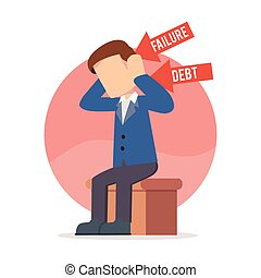 hombre de negocios, sentado, deprimido
