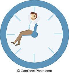 hombre de negocios, sentado, en, clock.