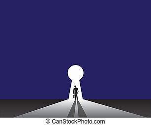 hombre de negocios, silueta, ojo de la cerradura, puerta