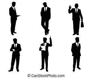 hombre de negocios, siluetas, seis