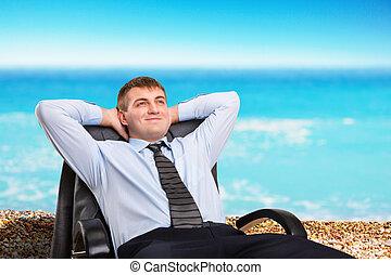 hombre de negocios, soñar aproximadamente, vacaciones