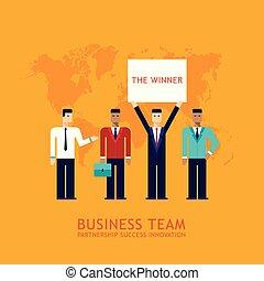 hombre de negocios, sociedad, trabajo en equipo, colaboración, exitoso, equipo negocio, concepto, plano, diseño
