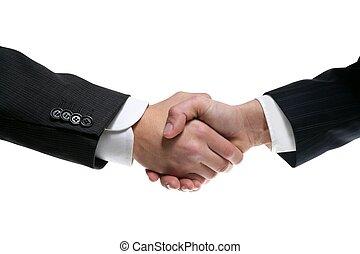 hombre de negocios, socios, sacudarir las manos, con, traje