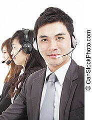 hombre de negocios, sonriente, centro de la llamada, agente