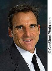 hombre de negocios, sonriente