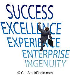 hombre de negocios, subida, arriba, 3d, éxito, palabras