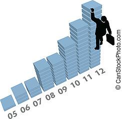 hombre de negocios, subidas, arriba, ventas, datos, gráfico