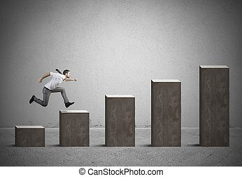 hombre de negocios, subidas, estadística