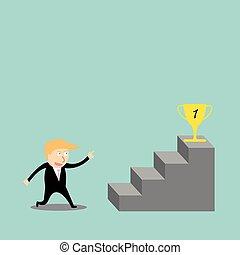 hombre de negocios, subir la escala, de, éxito