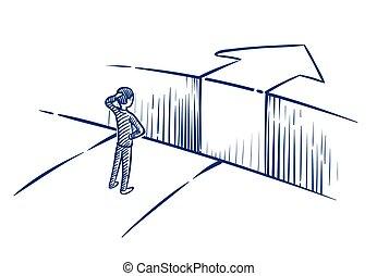 hombre de negocios, success., empresa / negocio, desafío, obstáculo, ilustración, mano, vector, manera, abismo, overcomes, dibujado, concept.