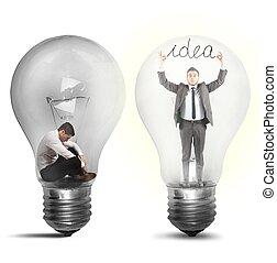 hombre de negocios, suddenly, un, idea