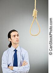 hombre de negocios, suicidio, pensamientos