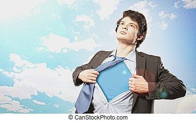 hombre de negocios, superhero, joven