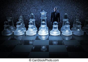 hombre de negocios, tablero de ajedrez