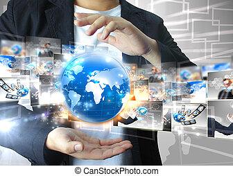 hombre de negocios, .technology, concepto, tenencia, mundo