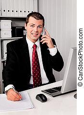 hombre de negocios, teléfono, oficina