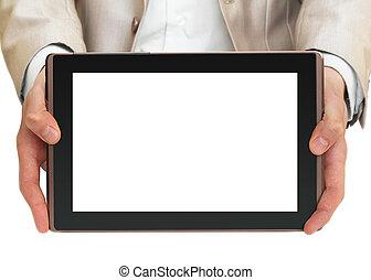 hombre de negocios, tenencia, computadora personal tableta