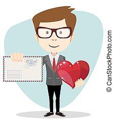 hombre de negocios, tenencia, corazón