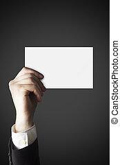 hombre de negocios, tenencia de la mano, blanco, tarjeta