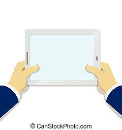 hombre de negocios, tenencia de la mano, computadora personal tableta, con, pantalla en blanco, plano, estilo