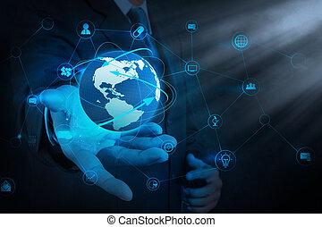 hombre de negocios, tenencia de la mano, empresa / negocio, diagrama