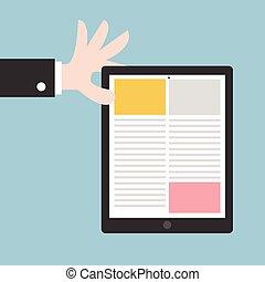 hombre de negocios, tenencia de la mano, tableta, computadora, plano, diseño, vector