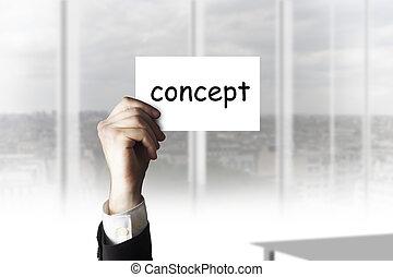 hombre de negocios, tenencia de la mano, tarjeta, concepto