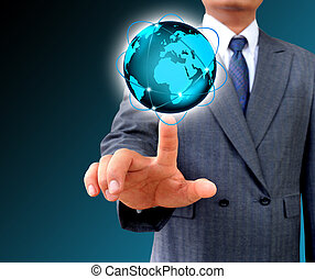 hombre de negocios, tenencia, empresa / negocio, mundo