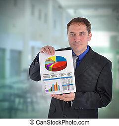 hombre de negocios, tenencia, gráfico, gráfico