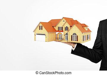 hombre de negocios, tenencia, modelo, casa