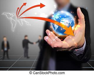 hombre de negocios, tenencia, mundo, conectado