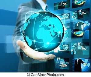 hombre de negocios, tenencia, mundo, .technology, concepto