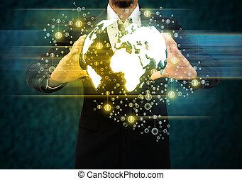 hombre de negocios, tenencia, mundo, tecnología