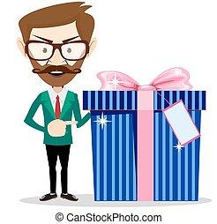 hombre de negocios, tenencia, regalo