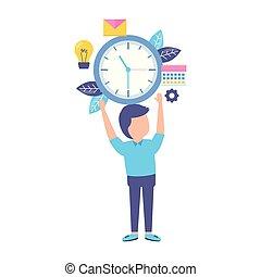 hombre de negocios, tenencia, reloj